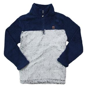 Ladies Sherpa Pullover - Navy | Frost Grey
